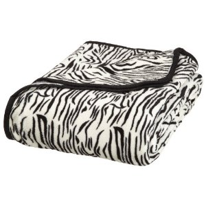 All Seasons Micro Fleece Plush Zebra Animal Print Blanket